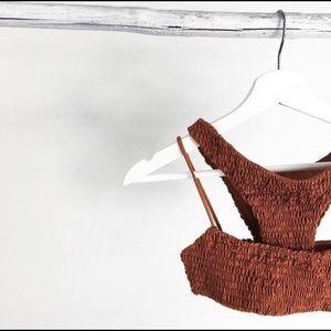 Two Piece Rust Scrunch Micro Bikini Set